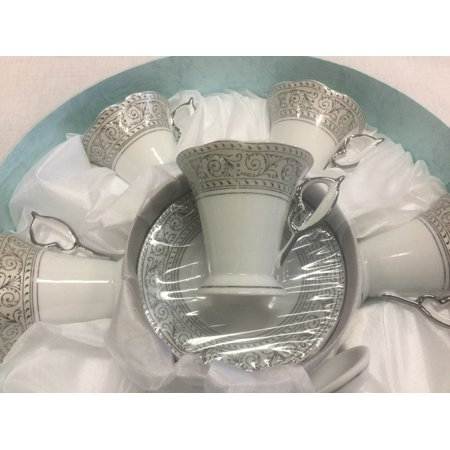 Elegant Silver 12 Piece Espresso Set - Cupid Cups & Saucers Gift Set for 6