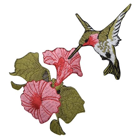 Large - Hummingbird - Ruby Red Throat - Pink Flowers - Iron on Embroidered Applique (Chiffon Flowers Patch)