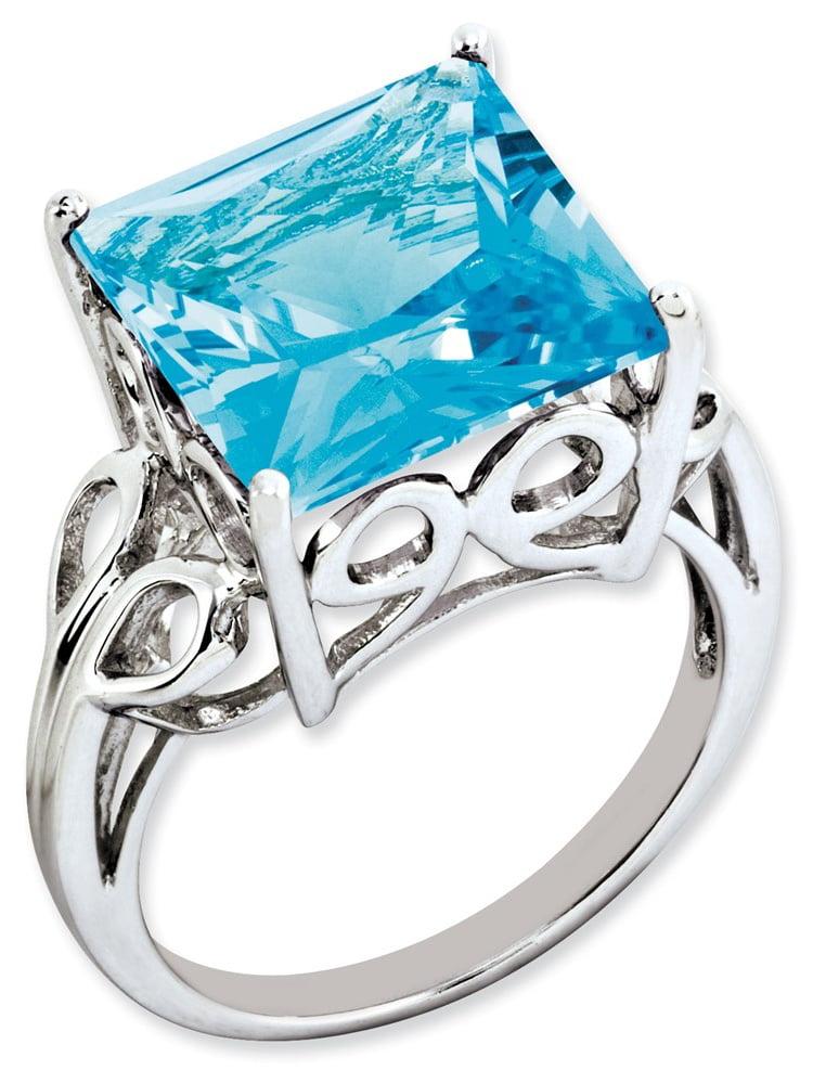 925 Sterling Silver Princess Cut 4-Prong Set Blue Topaz Ring by gemaffair