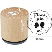 """Woodies Mounted Rubber Stamp 1.35""""-Please Join Us"""