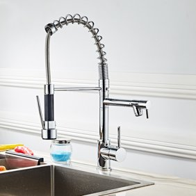 Kitchen Sink Faucet Pull Out Spray Rotating Spout Mixer Tap Kitchen Sink  Faucet with Swivel Pull Down Sprayer and Double Spout