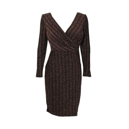 Sangria Petite Black Rose Gold Metallic Faux-Wrap Buckle Sheath Dress 6P](Rose Sangria)