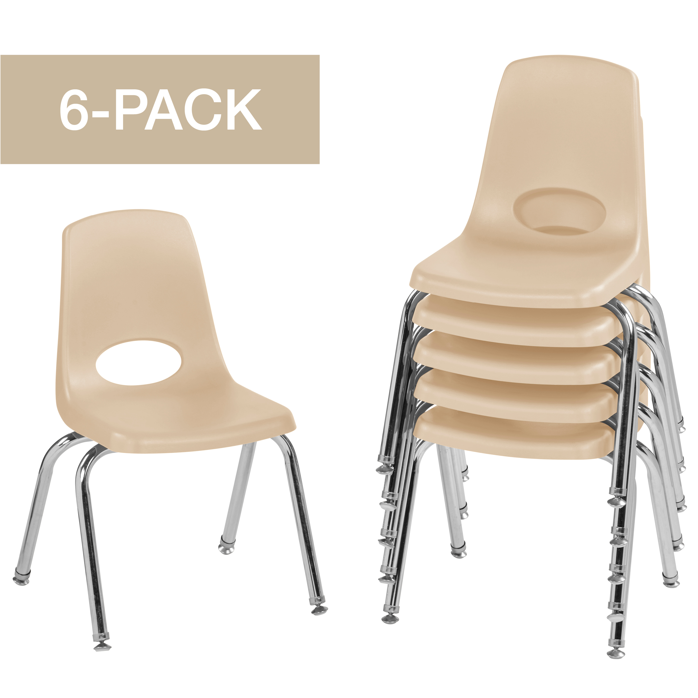 ECR4Kids Set of 6 14in Stack Chair Chrome Legs Swivel Glide, Multiple Colors