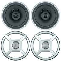 """2 x Jensen Marine MS650 6.5"""" Waterpoof Coaxial Speakers - 2 x 6.5"""" Removable Marine Audio Grilles for Speakers (Silver)"""