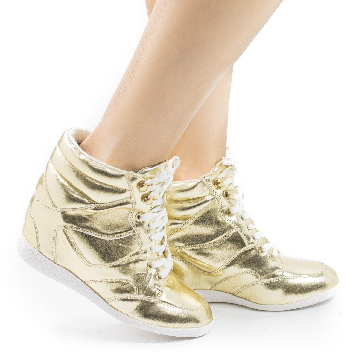 Bethany17 by Bamboo, Lace up Hidden High Wedge Women's Fashion Sneakers