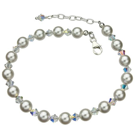 Swarovski Elements Crystals and Simulated Pearls Sterling Silver Bracelet, 7