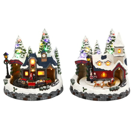 Lighted, Musical Holiday Scenes with Train, Church and Santa (Set of 2)