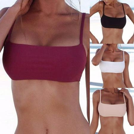 Women's Fashion Sexy Double Layer Bandage Push-Up Bikini Top Bandeau Swimwear Swimsuit Beachwear Bathing - Double Layered Halter