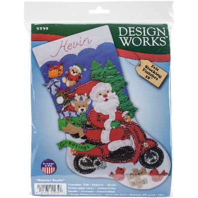 Scooter Santa Stocking Felt Applique Kit, 18