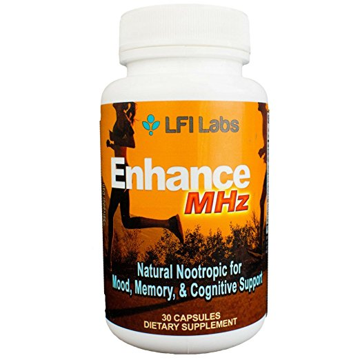 LFI Enhance MHz, Brain Booster Supplement for Active Focus, Anxiety Relief, & Memory Support - St. John?s Wort, L-Glutamine, Ginkgo Biloba, & More - a Nootropic Smart Drug for Students, Adults, & Kids