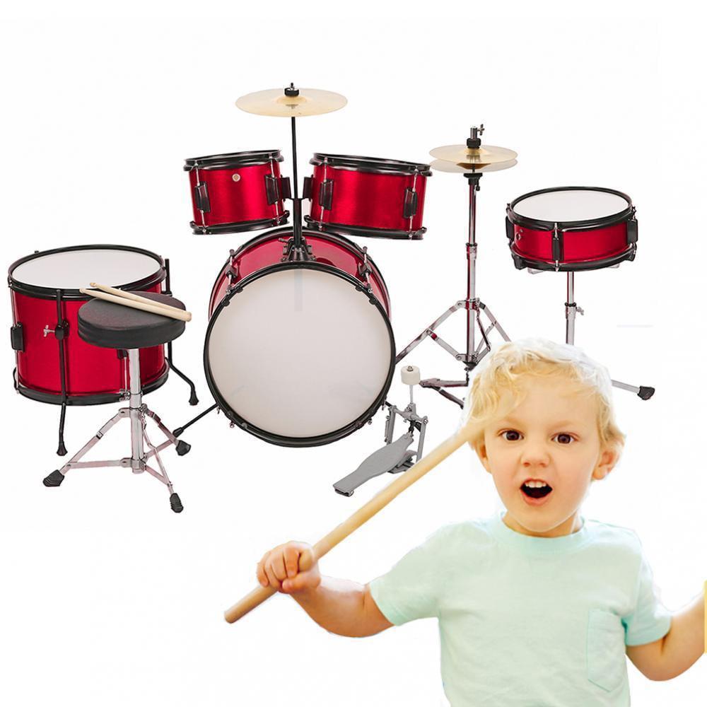 """Junior Kids Drum Set And Throne 16"""" 5-Piece Complete Kids Metallic Bright by"""