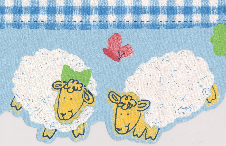 White Yellow Sheep Blue Wallpaper Border For Kids Bathroom Bedroom