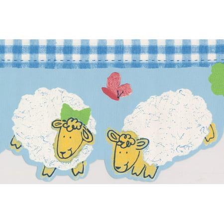 White Yellow Sheep Blue Wallpaper Border for Kids Bathroom Bedroom, Roll 15' x 6'' - image 3 of 3
