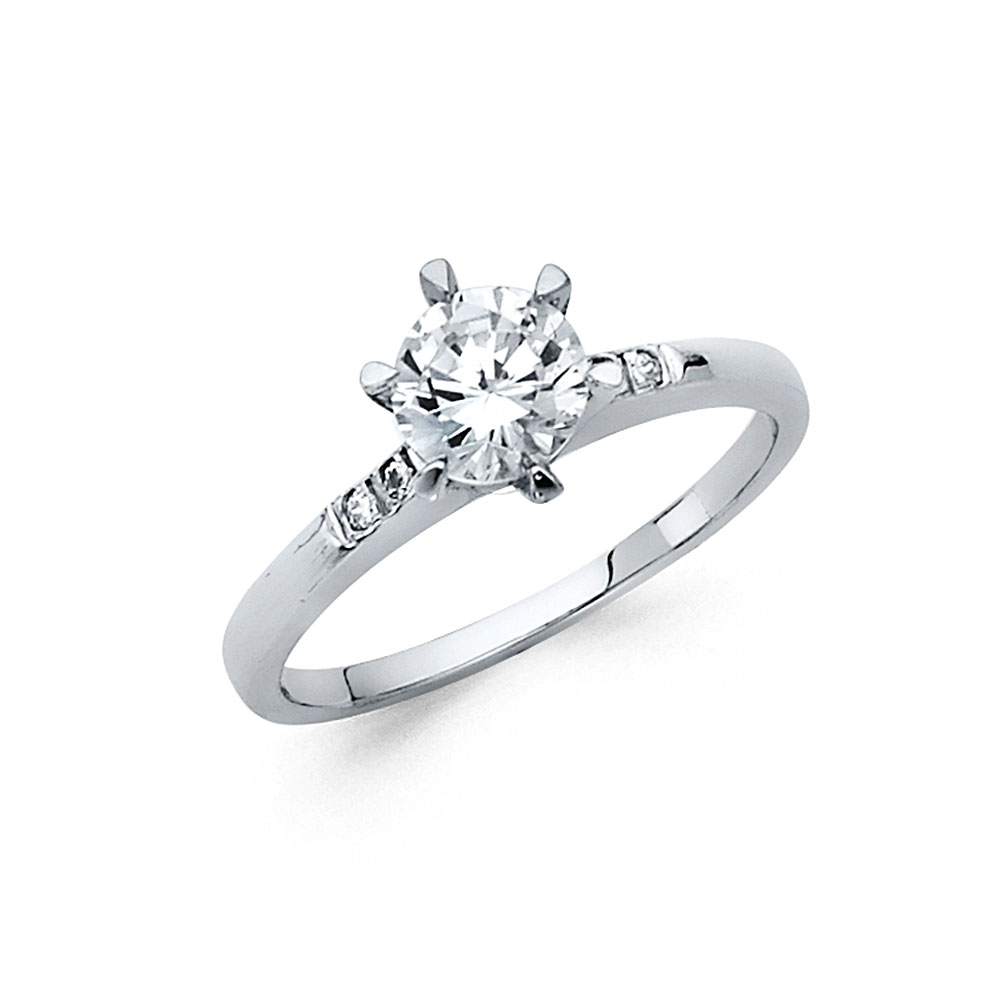 Paradise 14K Solid White Gold Round Cut Solitaire with Ch...