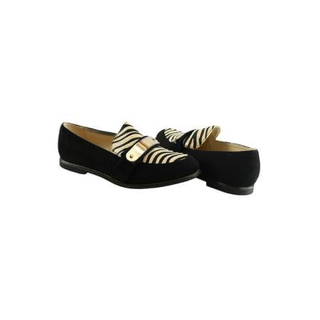 Liyu Adult Beige Zebra Striped Panel Strap Suede Slip-On Shoes ()