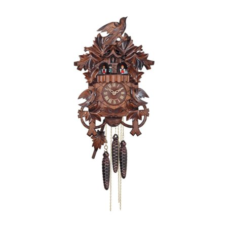 - River City Clocks MD483-14 Hand carved Birds with Leaves & Nest Musical Cuckoo Clock