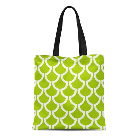SIDONKU Canvas Tote Bag Fish Modern Scales Geometric Lime Green Unique Pattern Popular Reusable Handbag Shoulder Grocery Shopping Bags