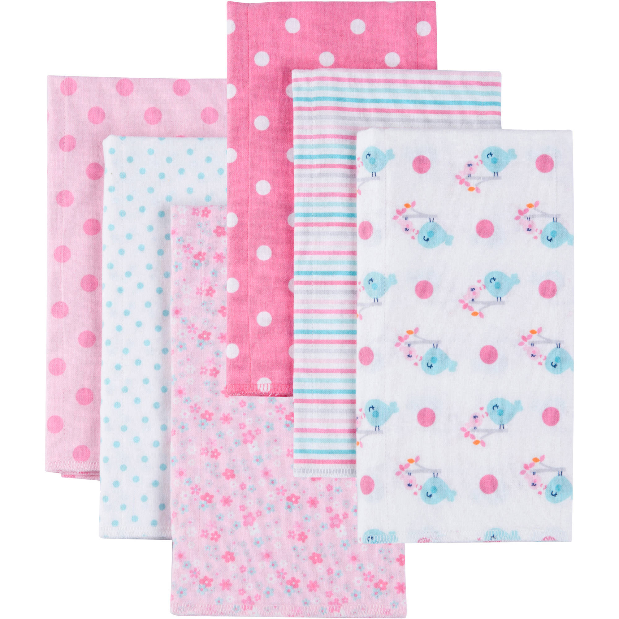 Gerber Baby Girl Flannel Burp Cloths, 6-Pack