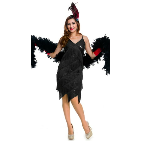 Roaring 20's Babe Costume, Black Flapper Dress - Roaring 20 Dresses