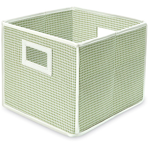 Badger Basket - Fabric Folding Cube, Sage Gingham