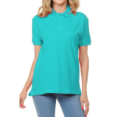 FRESH TEE Women's Adult Unisex 100% Cotton Classic Fit Polo Shirt Short Sleeve for Daily Work School Uniform ()