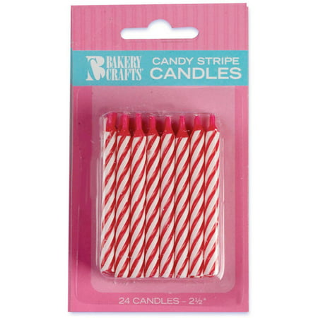 - Oasis Supply Candy Stripe Birthday Candles, 2.5-Inch, Red