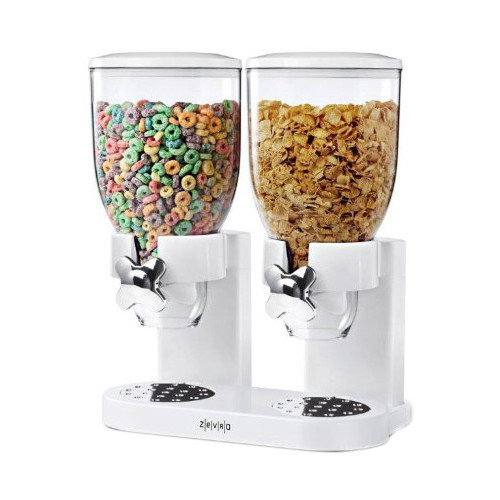 Zevro Indispensable Double Dry Food Dispenser in White(Two 17.5-oz. Canisters)