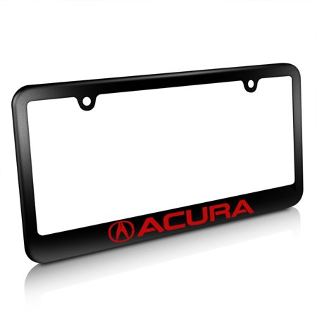 Acura Logo In Red Matte Black Metal License Plate Frame Walmartcom - Acura license plate