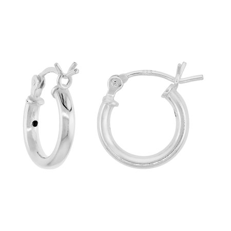 2mm Small Hoop Earrings (3 Pairs Sterling Silver Small Tube Hoop Earrings with Post-Snap Closure 2mm thick 1/2 inch round )