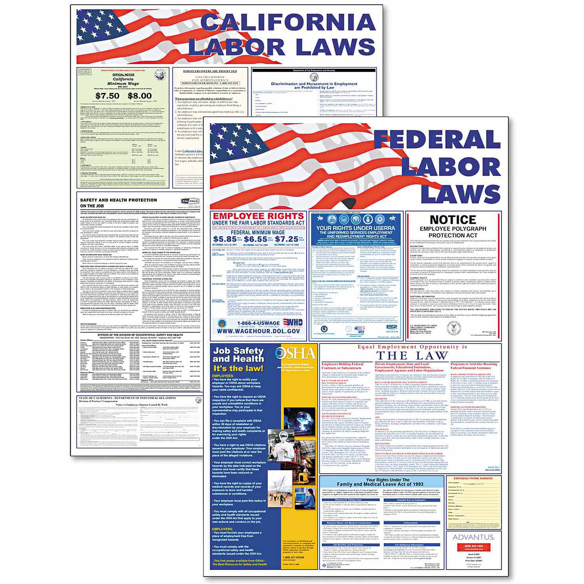 Advantus State/Federal Labor Law Legally Required Multi-Colored Poster