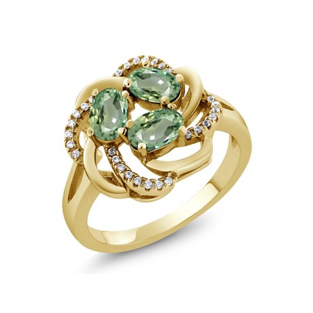 2.02 Ct Oval Green Sapphire 18K Yellow Gold Plated Silver Ring