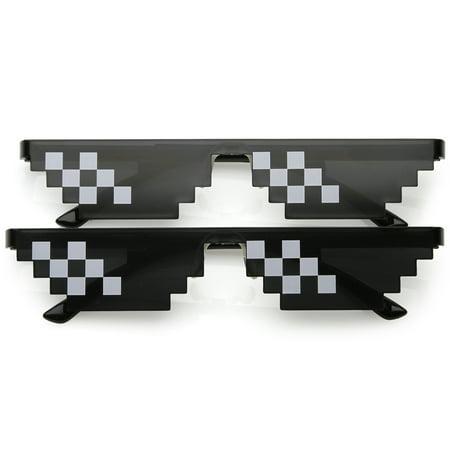sunglassLA - Novelty Rimless Thug Life Meme Sunglasses 66mm - (Cool Sunglasses Meme)