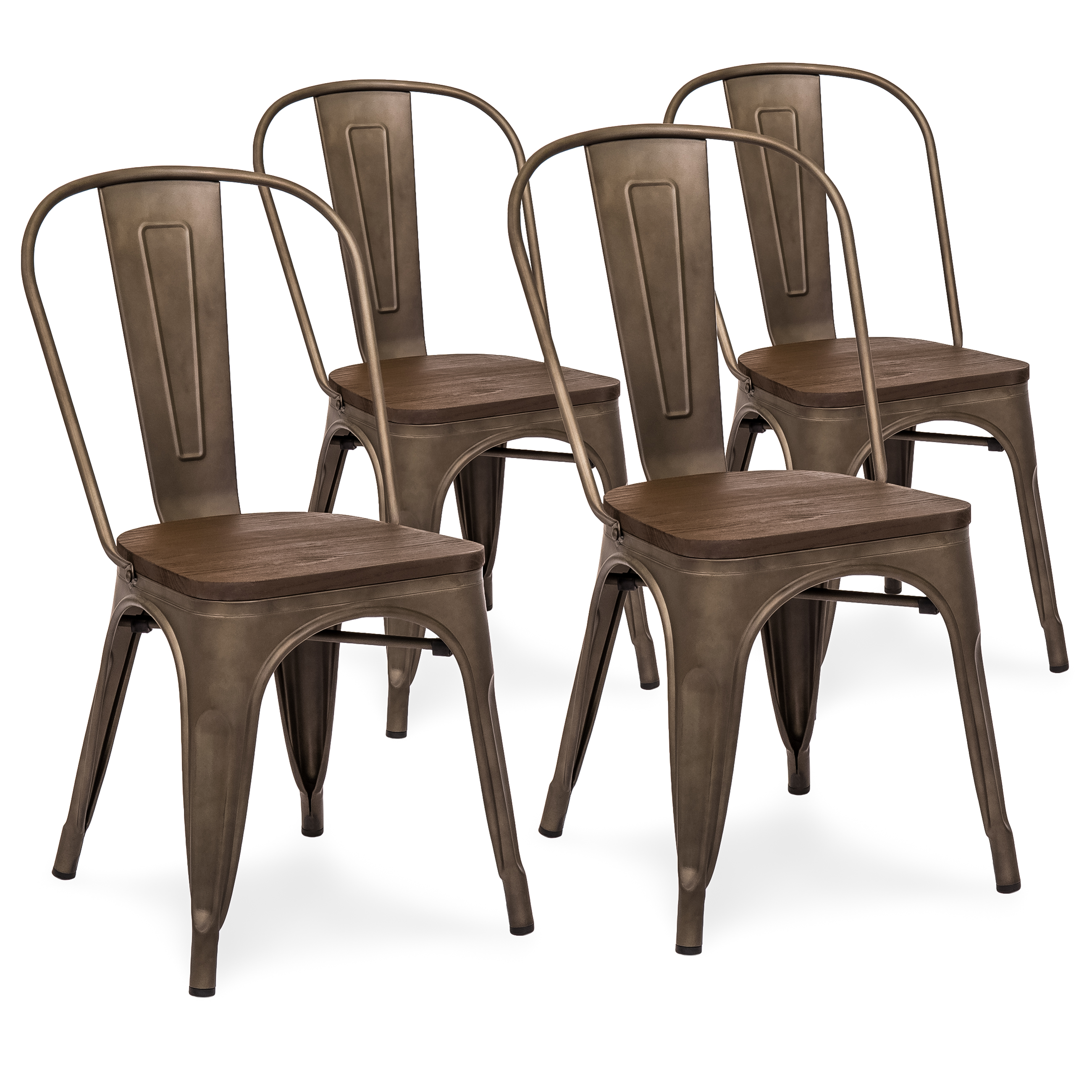 Best Choice Products Set Of 4 Industrial Distressed Metal Bistro Dining  Side Chairs W/ Wood