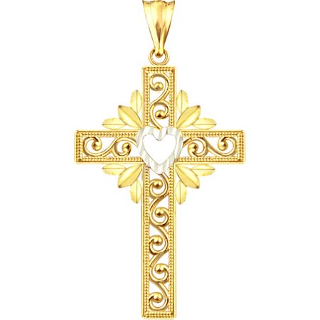 Design Cross Charm - US GOLD Handcrafted 10kt Gold Heart Design Cross Charm Pendant
