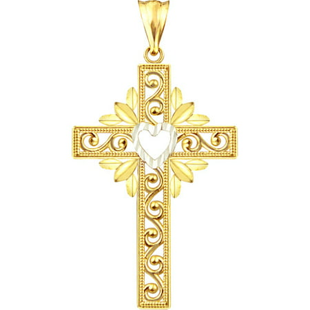 US GOLD Handcrafted 10kt Gold Heart Design Cross Charm Pendant (Golf Charms)