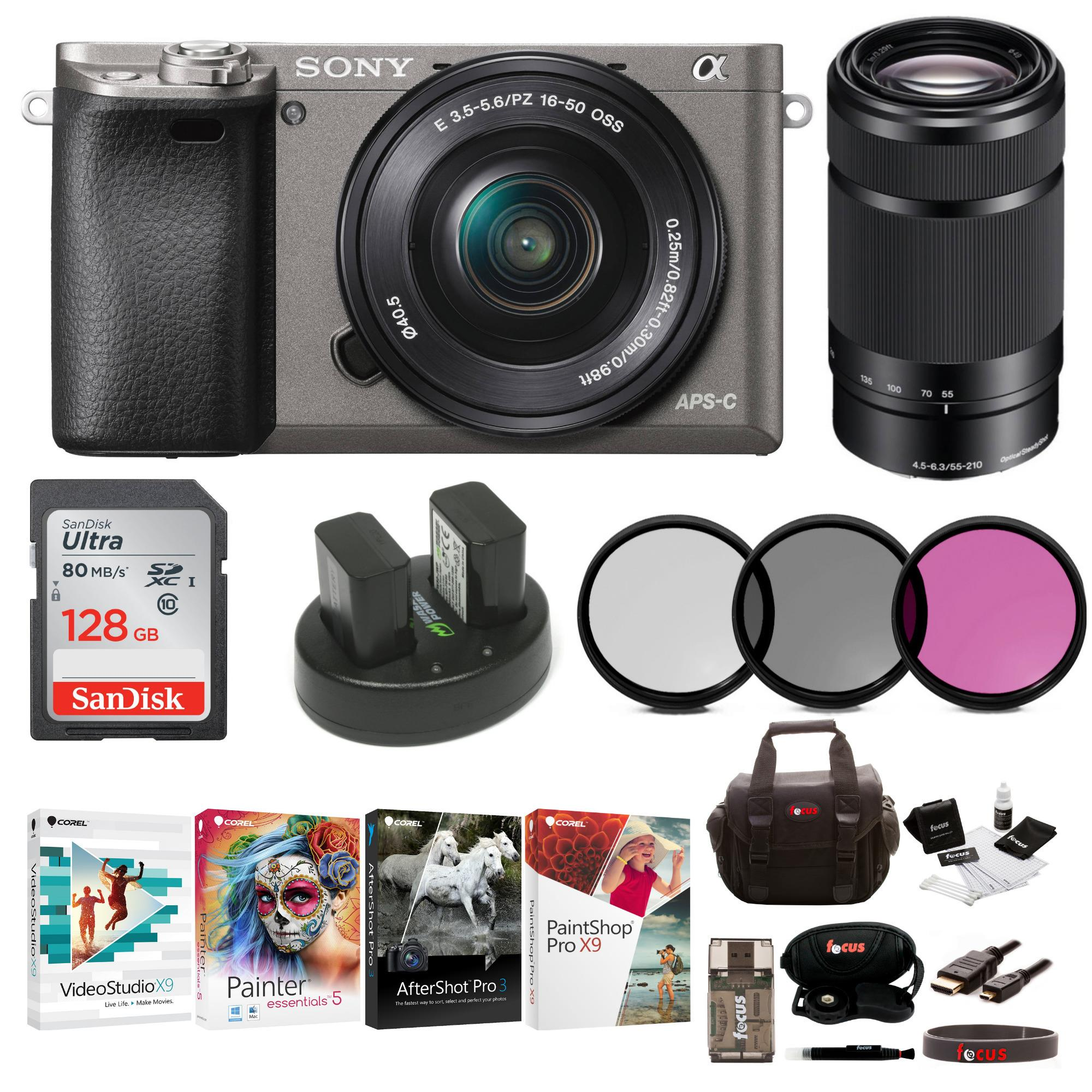 Sony Alpha a6000 Camera with 16-50mm and 55-210mm Lens Bundle (Graphite)