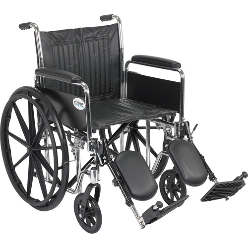 """Drive Medical Chrome Sport Wheelchair, Detachable Full Arms, Elevating Leg Rests, 20"""" Seat"""