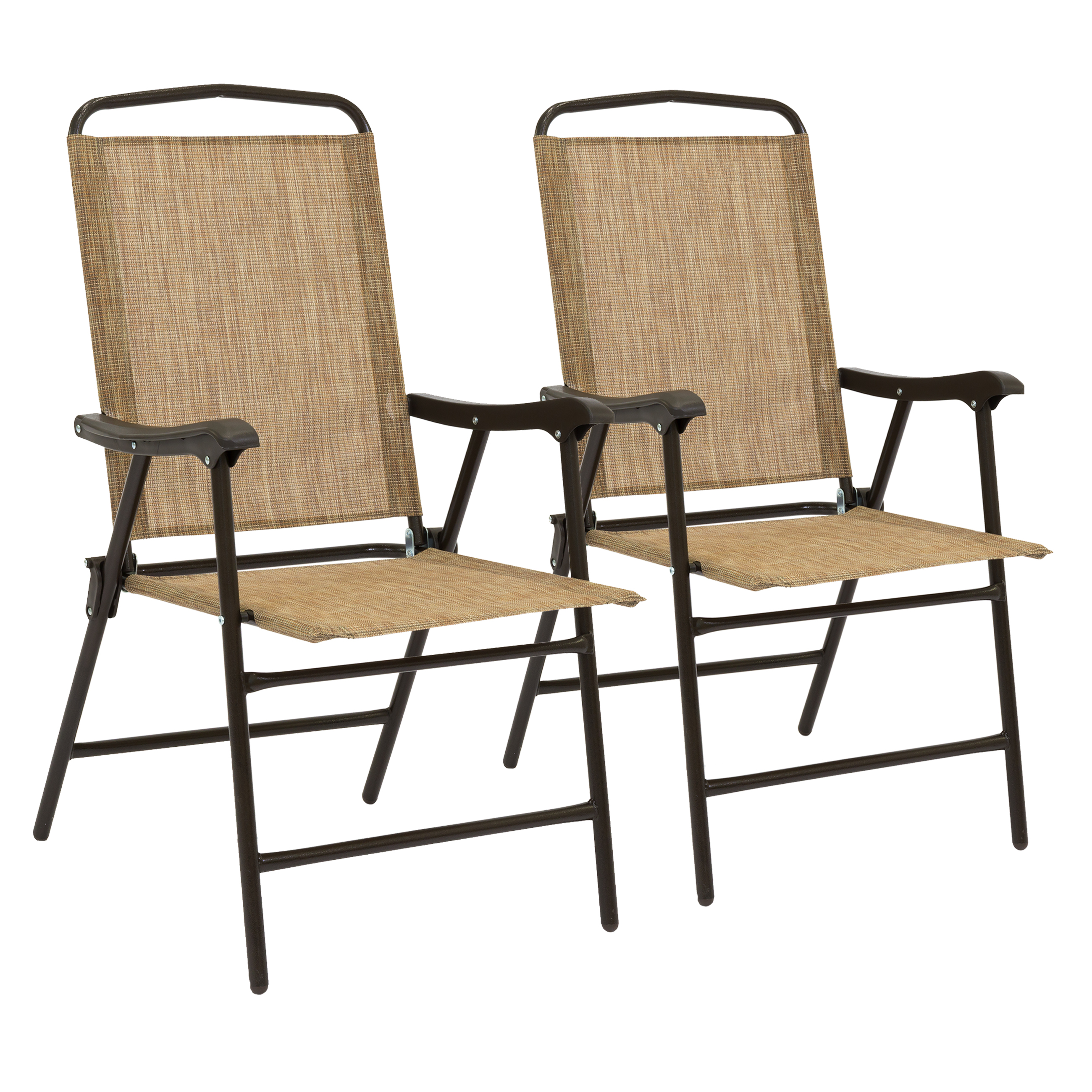 Best Choice Products Set of 2 Outdoor Folding Sling Back Chairs for Patio, Deck, Beach, Camping w/ Weather-Resistant Fabric, Metal Frame - Brown