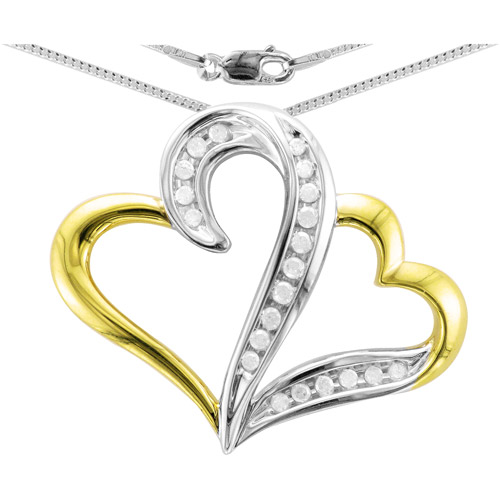 Heart 2 Heart 1/5 Carat T.W. Diamond Sterling Silver Yellow Gold Plated White Diamond Pendant with Chain
