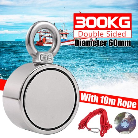 300KG Magnet Round Eyebolt Ring 60mm Double Side Super Strong Pulling Force Treasure Finder Salvage Fishing Hook Lifting Recovery Metal Detector Neodymium Magnetic Hanger+ 10M -