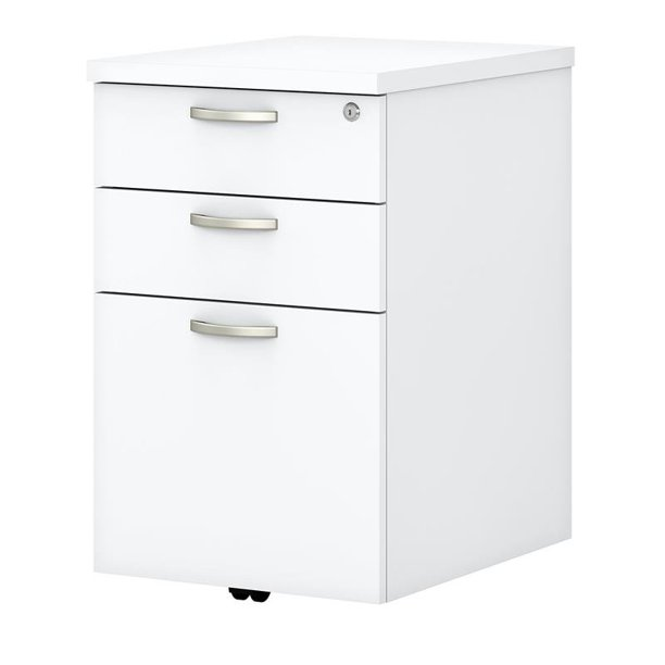 Easy Office 3 Drawer Mobile File, White Wood File Cabinet