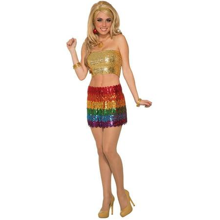 Womens Rainbow Sequin Skirt Halloween Costume - Rainbows End Halloween Prices