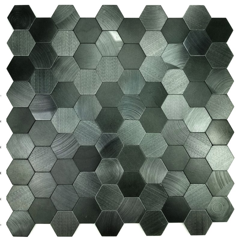 "Image of Enchanting Hexagon Wall Backsplash 12"" x 12"" Peel and Stick Metal Mosaic Tile in Blue"