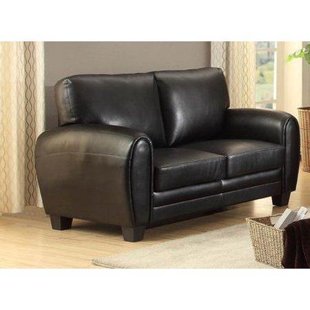 Homelegance Black Leather (Homelegance Rubin Love Seat In Black Bonded Leather Match)