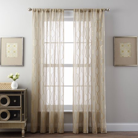 Better Homes and Gardens Shimmer Trellis Foil Print Curtain