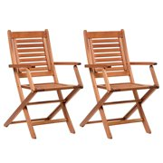 Amazonia Milano 2-Piece Folding Armchairs | Eucalyptus Wood | Ideal for Outdoors and Indoors