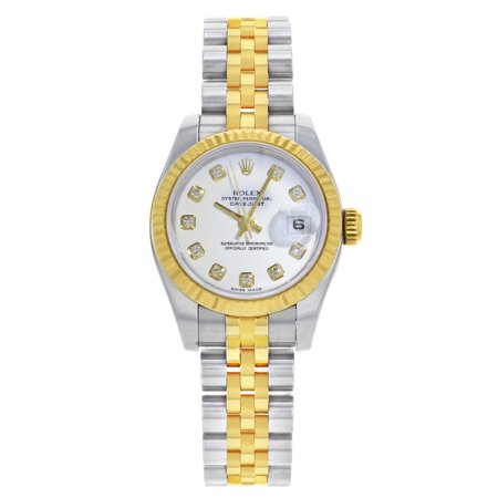 Rolex Datejust 179173 Steel 18k Yellow Gold White Diamond Dial Automatic Watch