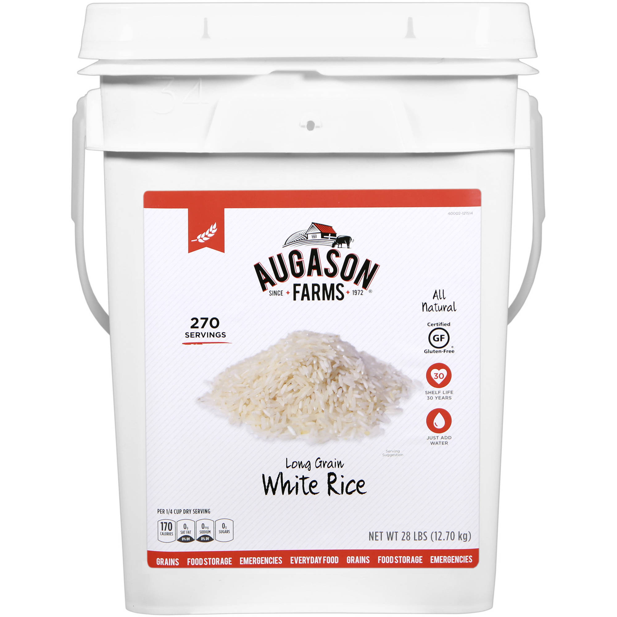 Augason Farms Emergency Food Long Grain White Rice, 28 lb by Generic