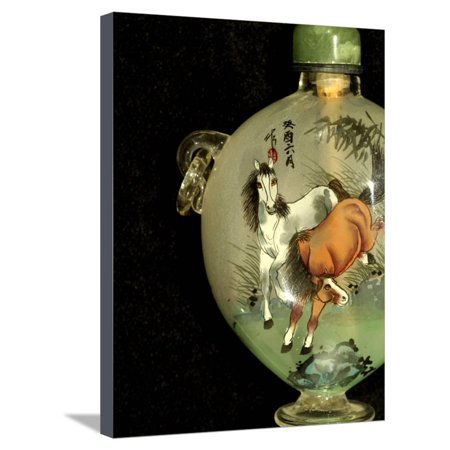 Hand Painted Snuff Bottles with Jade Tops and Horse Globe, Chinese Handicrafts, China Stretched Canvas Print Wall Art By Cindy Miller Hopkins (Inside Hand Painted Snuff Bottle)