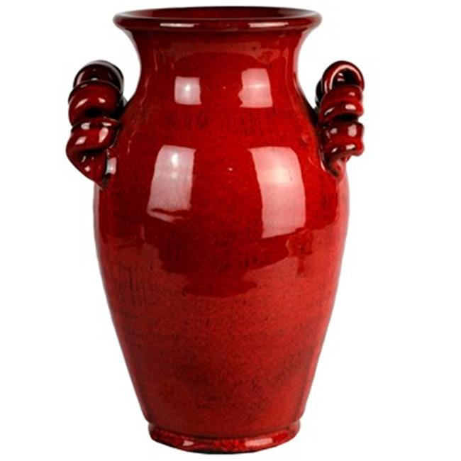 Michael Carr Designs MCDJC12B048SANTRED Jar with Scroll Handles, Antique Red